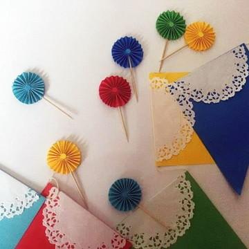 Decoração FESTA toppers e bandeirola Kit