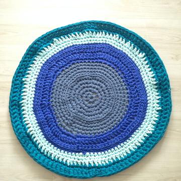 CROCHE FIO DE MALHA TAPETE BLUE 61X61