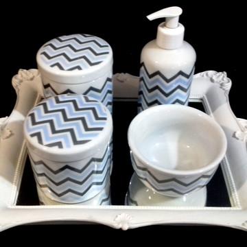 Kit bebe Porcelana Chevron Azul c/ Cinza