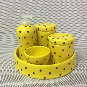 Kit Higiene Amarelo c/ Poá - Cerâmica