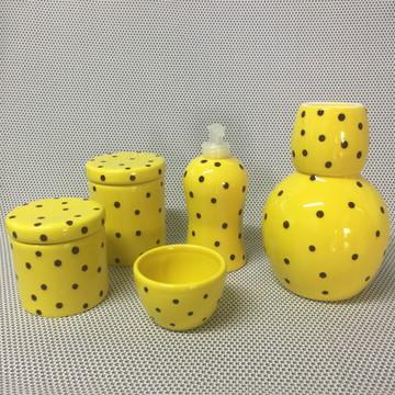 Kit Higiene Amarelo c/ Poá 2 - Cerâmica