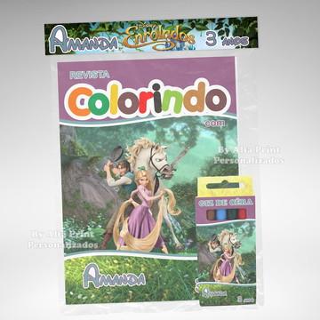 Kit Colorir Rapunzel Enrolados + Brindes