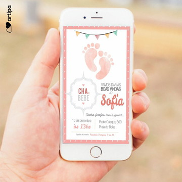 Convite Chá de fraldas - Digital
