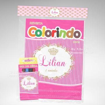 Kit Colorir Princesa Coroa + Brindes
