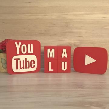 Combo YouTube - Nome em Cubos 4 LETRAS + Símbolos