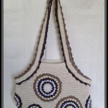 Bolsa Cru com Mandalas em Croche