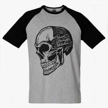Camiseta Raglan Caveira Camisa Swag