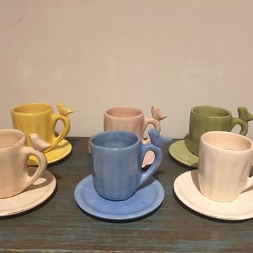 xicaras de cafe passaros(6 xicaras)