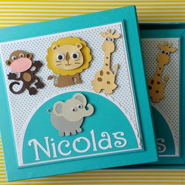 diário bebê personalizado menino com caixa safári scrapbook