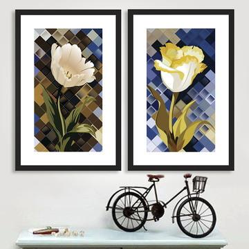 Par de quadros tema floral tulipas