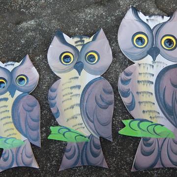 Decoração coruja trio de parede