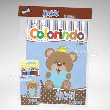 Kit Colorir Ursinho Marrom E Azul +Brind