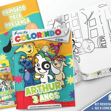 Kit Revista + Giz + Lapela - Turma Doki