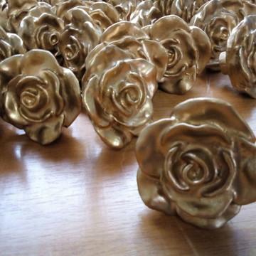 Puxador Rosa Provençal Dourada