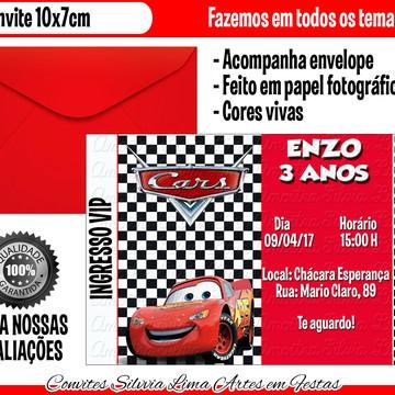 Convite carros disney vip