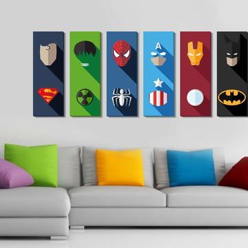 06 Quadros Super Heróis com Efeito 3D