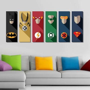 06 Quadros Super Heróis Efeito 3D
