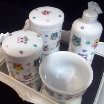 Kit higiene bebe porcelana Corujinha