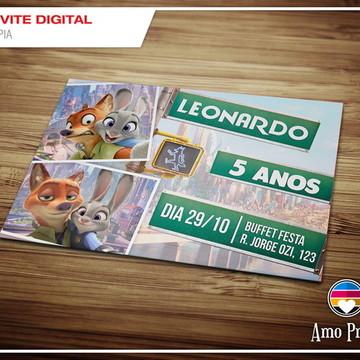 Convite Digital Zootopia