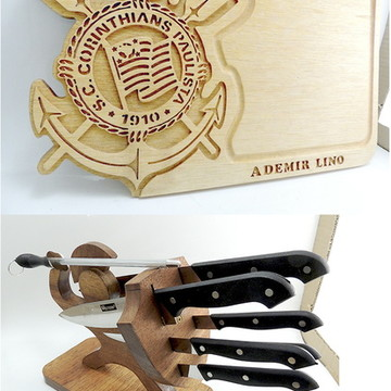 kit faqueiro gladiador e tabua de corte