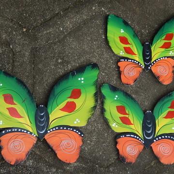 Decoração parede borboleta verde laranja