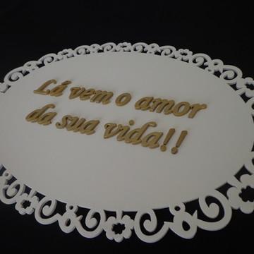 Placa Casamento Frente - Escrita Dourada