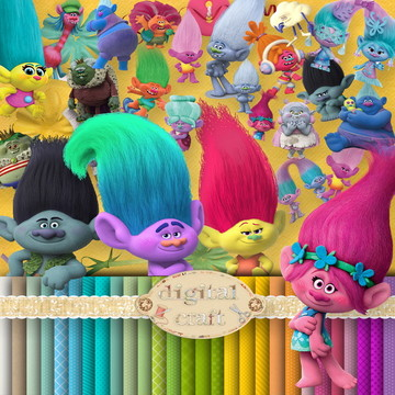Kit Scrapbook Digital - Trolls