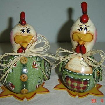 Casal de galinhas de cabaça 2