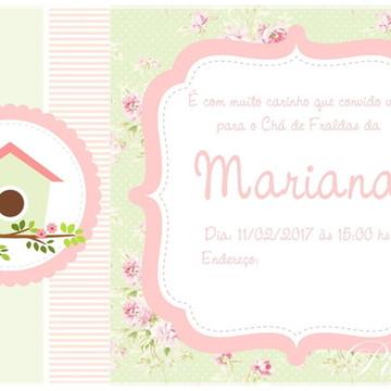Convite Virtual- Passarinho Verde e Rosa