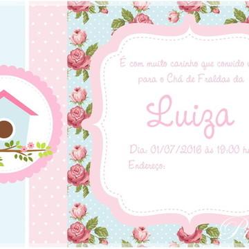 Convite Virtual- Passarinho Azul e Rosa