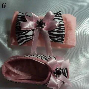 Kit sapatilha e faixa de cetim