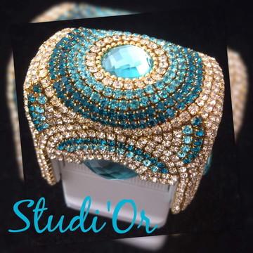 Carimbo luxo em pedrarias - cor Tiffany