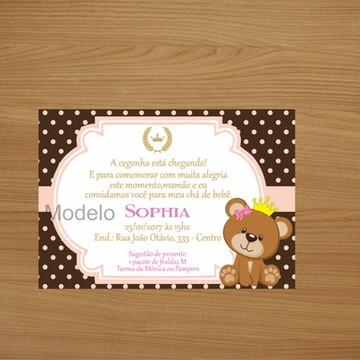 Convite Personalizado 10x7 - Ursinha