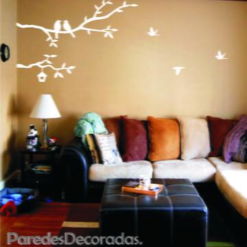 35c9846cb Adesivo para parede da sala com 2 galhos de árvore pássaros
