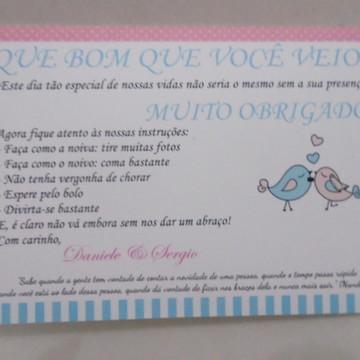Placa de Agradecimento Pássaros Az/Rosa