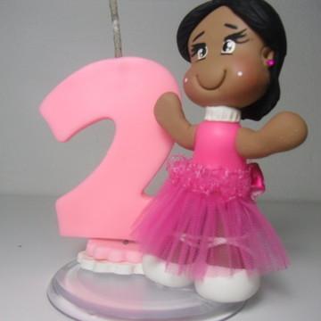 Mini Topo de Bolo Bailarina Rosa