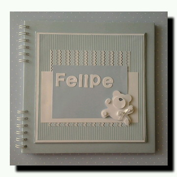 scrapbook para mensagens fotos menino Ursinho Soft azul
