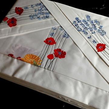 Jogo de Lençol 250 fios Solteiro Roupa de cama bordada