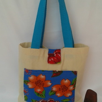 Ecobag Bolsa Sacola Chitao Azul Floral