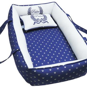 Ninho Para Bebê Redutor de Berço Azul Coroas