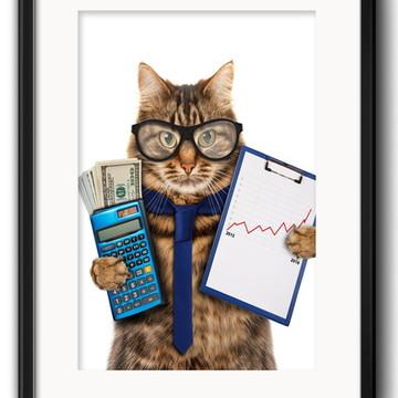 Quadro Gato Economista com Paspatur
