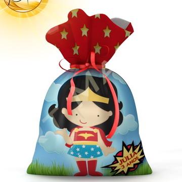 Saquinho Mulher Maravilha cute -20cmx15