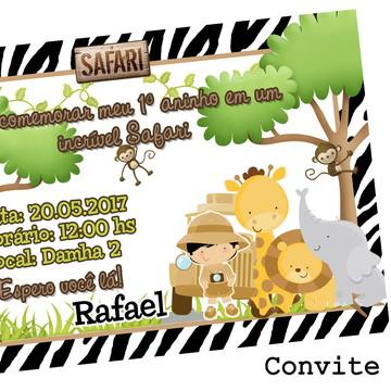 Convite impresso 10x15 Tema Safari