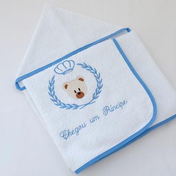 Toalha Banho Bebê Forrada Principe Urso
