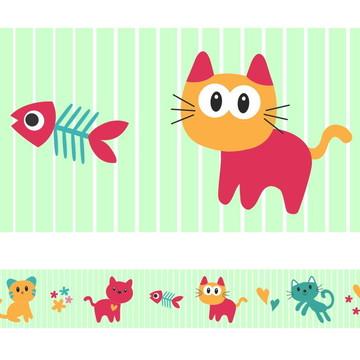 Faixa Para Quarto de Bebê -Gato Colorido