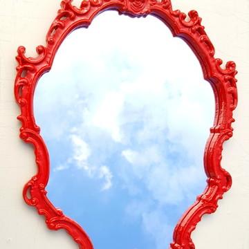 Espelho / Moldura Rococó Vermelho