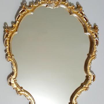 Espelho / Moldura Rococó Prata E Ouro