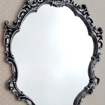 Espelho / Moldura Rococó Prata Velha