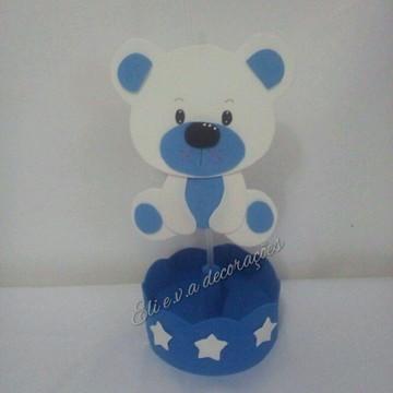 Centro de mesa ursinho branco e azul