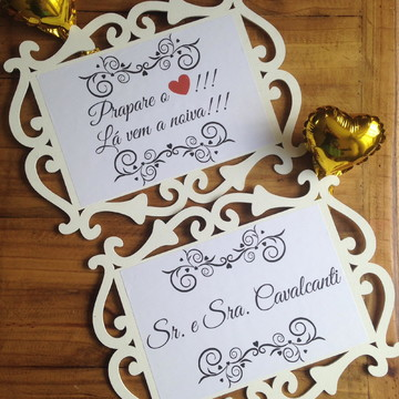 Placas cerimônia de casamento